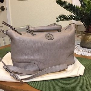 Tory Burch satchel bag! Retail. Taupe. Leather!